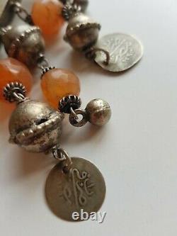 Collier Amulette Zar Egypte Argent Cornaline Ancien Tribal Berbere Bedouin Ethni