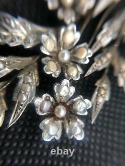 Collier Ancien Argent Massif Vermeil Perles Fine Napoléon III XIXEme