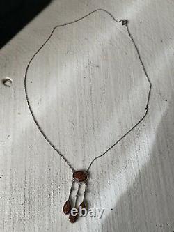 Collier Ancien Négligé Art Deco Pierre De Soleil Argent Antique Silver necklace