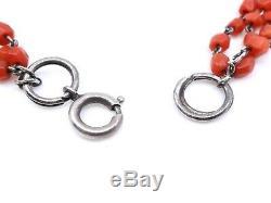 Collier ancien 3 rangs de perles de corail rouge monté sur argent massif XIXeme