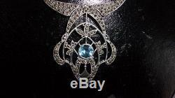 Collier ancien en argent massif, pierre bleue et marcassites
