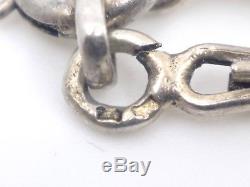 Collier ancien feuilles de gui en argent massif vermeil perles Art Nouveau 1900