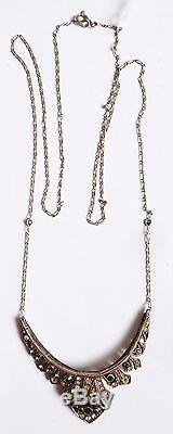 Collier pendentif ART DECO argent massif + strass necklace bijou ancien
