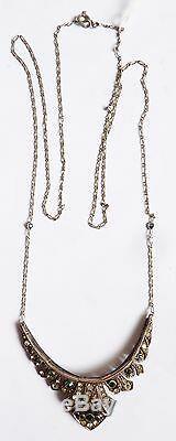 Collier pendentif ART DECO argent massif + strass necklace silver ancien