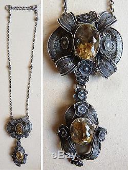 Collier pendentif en argent massif filigrane et citrine bijou ancien vers 1900