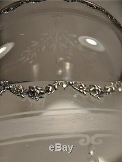 Coupe Ancien Argent Massif Cristal Grave Antique Solid Silver Cup Centerpiece