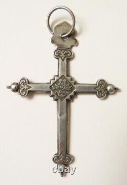 Croix Jeannette argent massif Bijou ancien régional 19e siècle silver cross cruz
