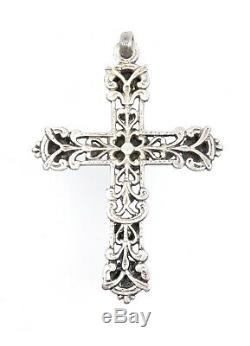 Croix ancienne en argent massif cabochons de turquoise et cornaline