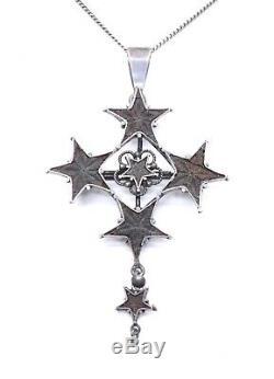Croix ancienne en argent massif et étoile de Digne St Vincent Provence XIXeme