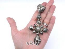 Croix bosse et son coulant en argent massif bijou régional ancien Normand XIXe