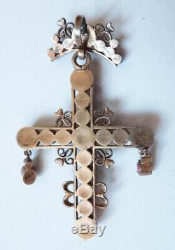 Croix pendentif argent massif Bijou régional Provence ancien silver cross