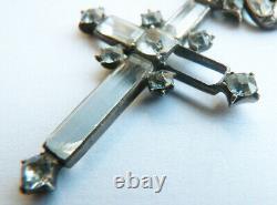 Croix pendentif en argent massif + strass Bijou ancien 19e siècle silver cross