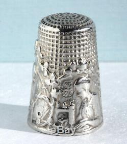 DENTELIÈRE Dé à coudre ancien ARGENT couture Fingerhut Thimble French Silver fil