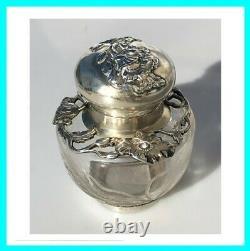 Encrier ancien ART NOUVEAU Cristal verre ARGENT MASSIF XIXe