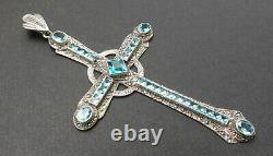Énorme Ancienne croix pendentif argent massif marcassite & Topaze suisse de 14ct