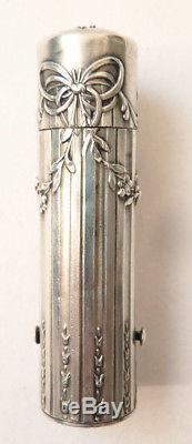Étui tube baton de rouge à lèvres en ARGENT massif Ancien vers 1900 lipstick box