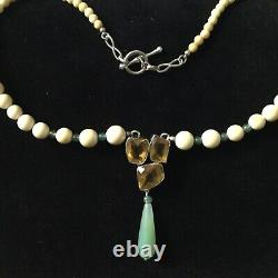 Exceptionnel Ancien Collier Citrine, Jade, Os, Argent Massif, Art Deco