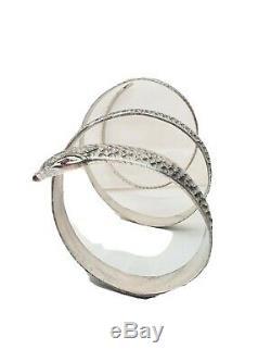 Exceptionnel Ancien Grand Bracelet En Argent Massif Serpent Petits Rubis 17 cm