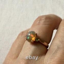 Exceptionnelle Veritable Opale, Bague Ancienne En Vermeil Or Rose/ Argent Massif
