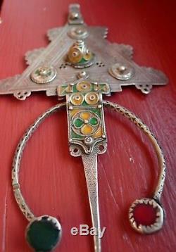 Fibule Argent Ancien Email Maroc Antique Berber Silver Enamel Moroccan Fibula