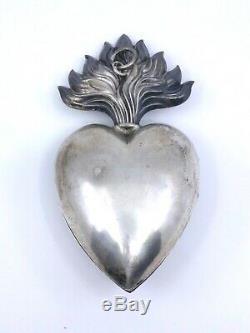 Grand Coeur de Marie ancien en argent massif reliquaire Ex voto XIXeme