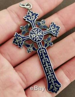 Grand Pendentif Croix Émaillé Bleu Ancien 19e En Argent Massif