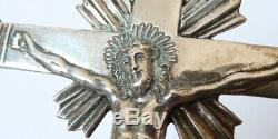 Grande croix pendentif ARGENT bijou ancien 19e siècle antic cross