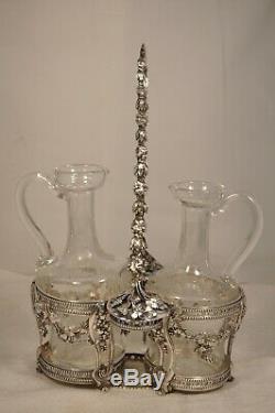 Huilier Vinaigrier Ancien Argent Massif Coq Orleans Antique Solid Silver Oil Set