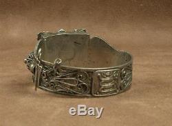 Important Bracelet Berbere Ancien En Argent Massif Afrique Du Nord Poincon Crabe