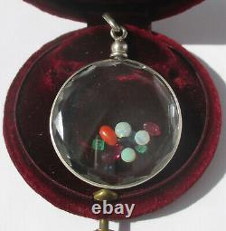 Important pendentif porte photo locket ancien facetté pierres argent massif