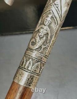 Indes Ancienne Canne Pommeau Argent Massif Indian Silver Cane Xixeme