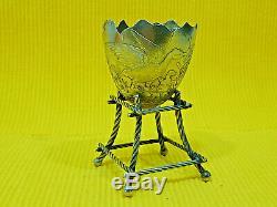 Jolie ancien coquetier en argent massif, décor chien, oiseau, libellule, Minerve