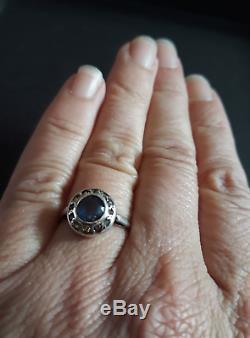 Jolie bague ancienne années 20, argent massif, pierre bleue et pierres blanches