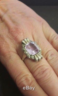Jolie bague ancienne argent massif et pierre violette modèle art déco