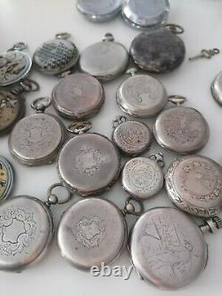 Lot de 21 Montres à Gousset ancienne argent et autre pour pièces/restaurer