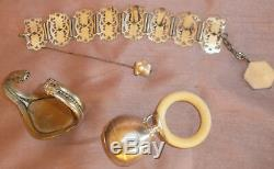 Lot de bijoux anciens & vintage + hochet argent massif à restaurer
