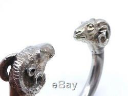 Lourd bracelet jonc ancien tête de belier en argent massif 132g