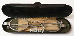 Lunettes anciennes ARGENT massif avec étui bésicles silver glasses année 1819
