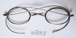 Lunettes anciennes ARGENT massif et étui cuir bésicles lorgnon silver glasses