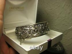 Magnifique Bracelet Ancien Ouvrant Motifs Roses Marguerites En Argent Massif