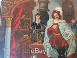 Magnifique Coffret Ancien Peinture Sur Bois Necessaire A Couture Argent Massif