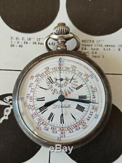 Montre ancienne Gousset chronographe l'abeille boîte argent silver pocket watch