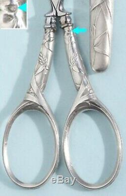 Nécessaire de couture ARGENT ancien Ciseaux à broder écrin NOGENT Etui Scissors
