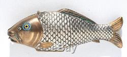 Nécessaire de couture miniature ancien ARGENT Chatelaine Sewing etui Ciseaux set