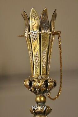 PORTE BOUQUET ANCIEN ARGENT MASSIF ANTIQUE TUSSIE MUSSIE SOLID SILVER 18th c