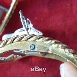 Paire Boucles Chaussures Anciennes Argent Massif Vermeil Voir Poincons- Ref26785