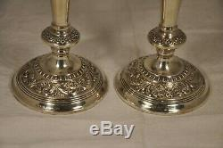 Paire De Bougeoirs Anciens Argent Massif Solid Silver Candlesticks