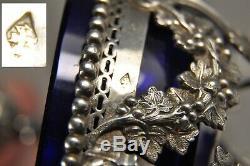 Paire Saliere Saleron Ancien Argent Massif Antique Solid Silver Salt Cellar 351g