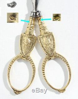 Paire de ciseaux à broder couture VERMEIL ARGENT écrin brodeuse ancien Scissors