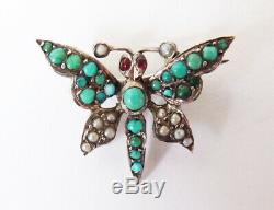 Papillon insecte Broche argent massif + turquoise Bijou ancien silver brooch